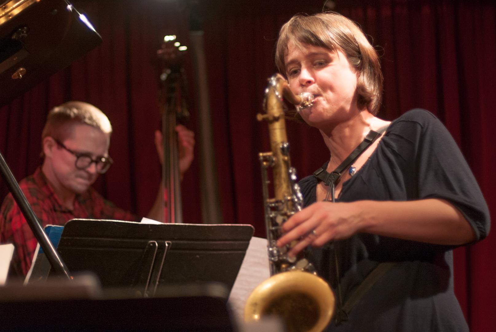 Eivind Opsvik and Ingrid Laubrock with the Kris Davis Quintet at the Cornelia Street Cafe