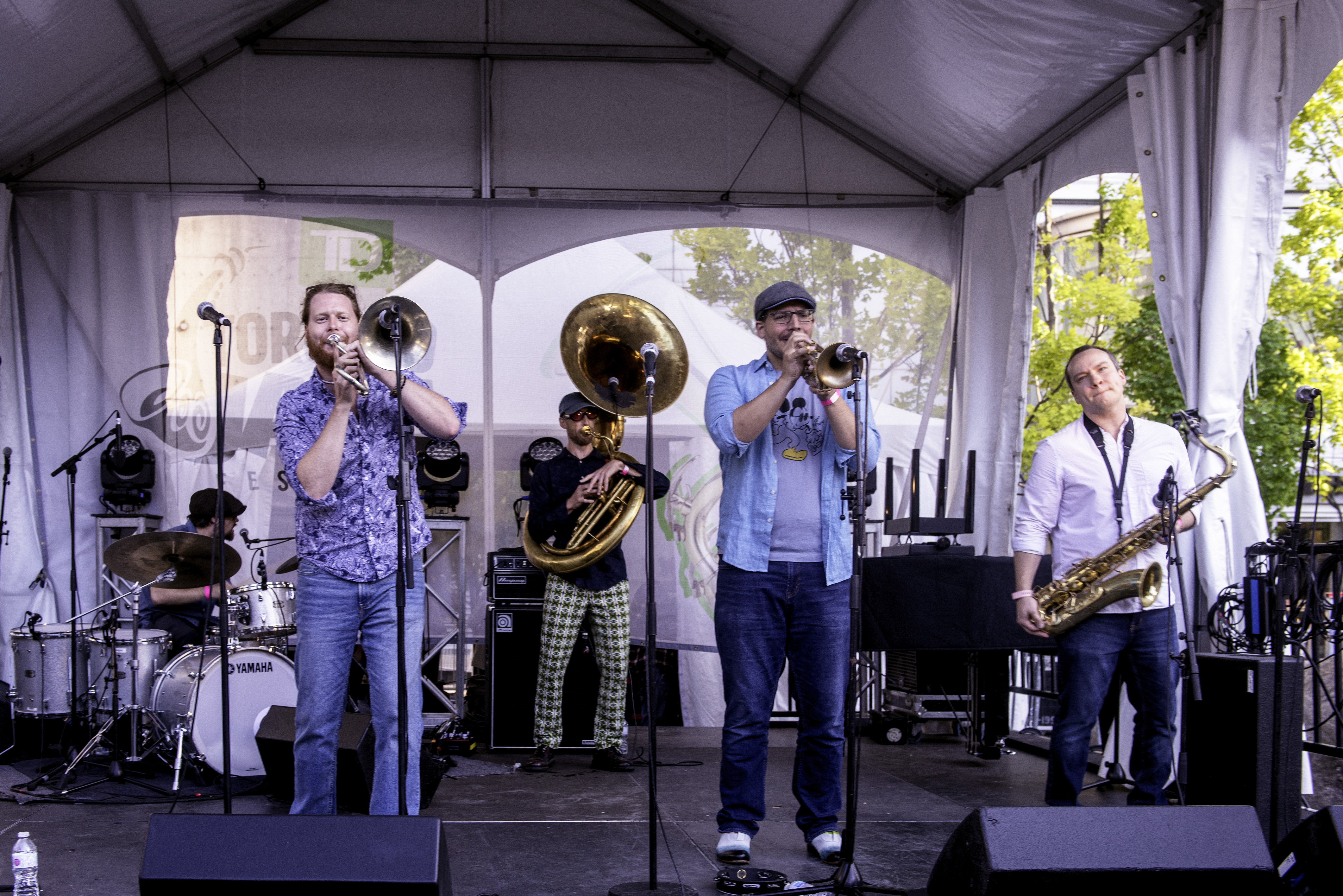 Chris Butcher, John Pittman, Paul Metcalfe, Tom Richards and Lowell Whitty with the Heavyweight Brass Band at the Toronto Jazz Festival 2019