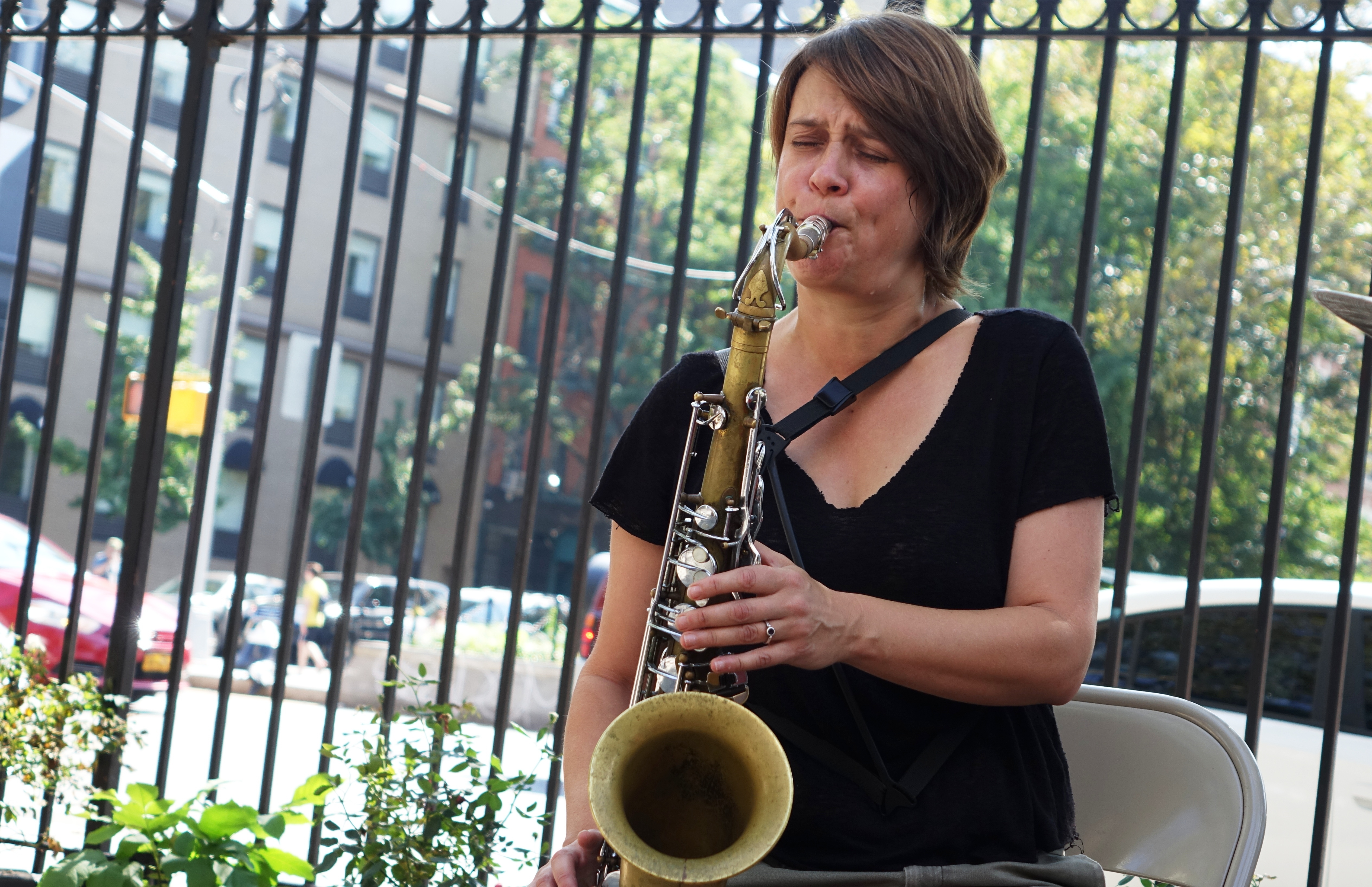 Ingrid Laubrock at First Street Green, NYC in September 2017