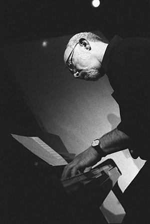 Mark Levine, 11/5/02 Leads the Way on Piano for His Band the Latin Tinge at Jazz at Intersection.
