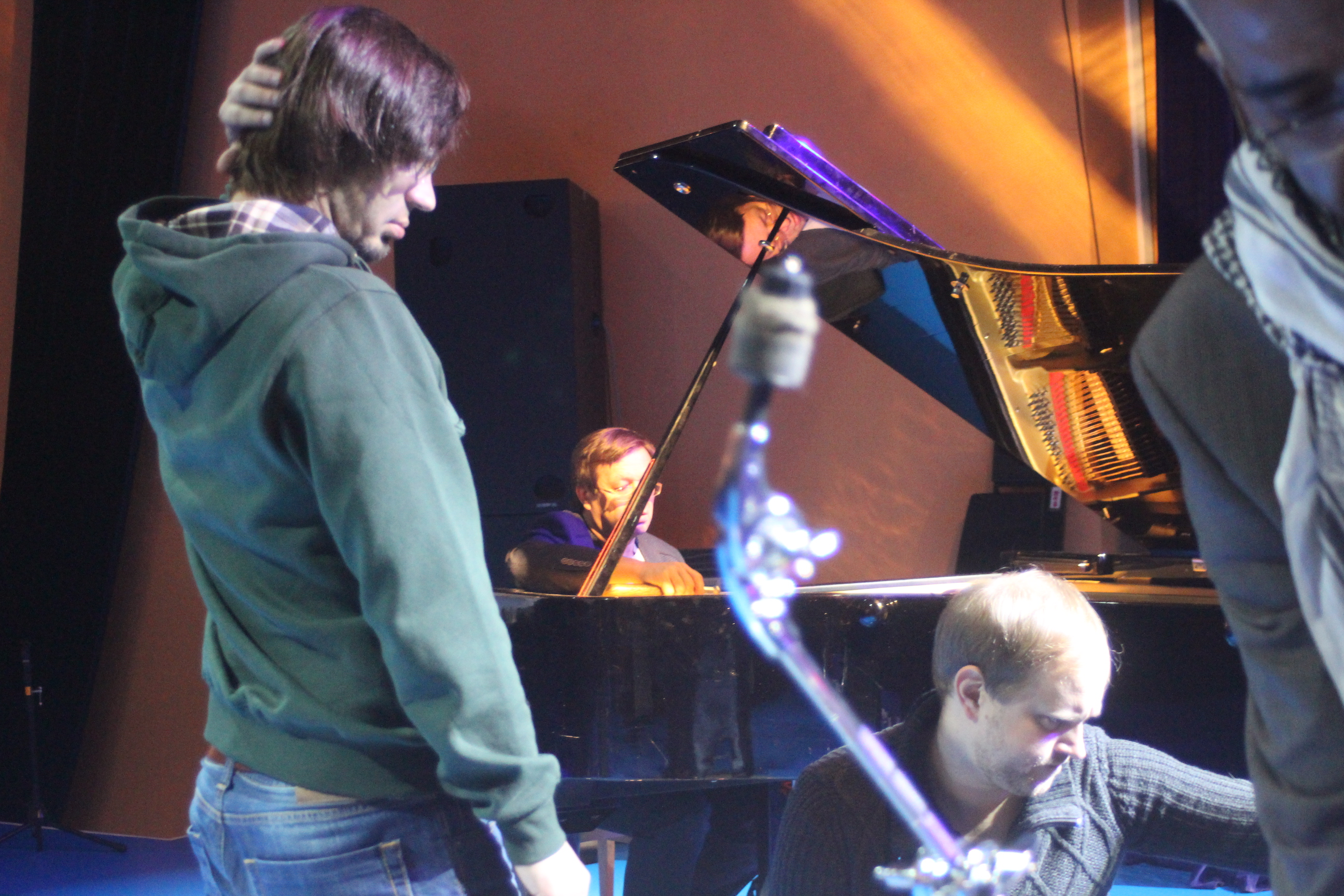 Russian saxophonist bubyakin kirill, bassist michael o'brien at the michelle walker sound check at the philharmonic in vladivostok, russia.