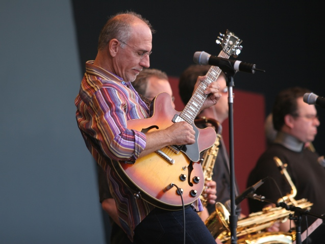 """Guitarist Larry Carlton Performs with the """"Sapphire Blues Band"""" at the 2005 Monterey Jazz Festival."""