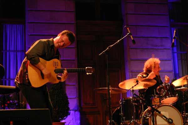 "Sylvain Luc and Andre Ceccarelli with ""Trio Sud"" at the Cour de L'Hotel de Ville de , Jazz Estival, Geneva, Switzerland, 2004"