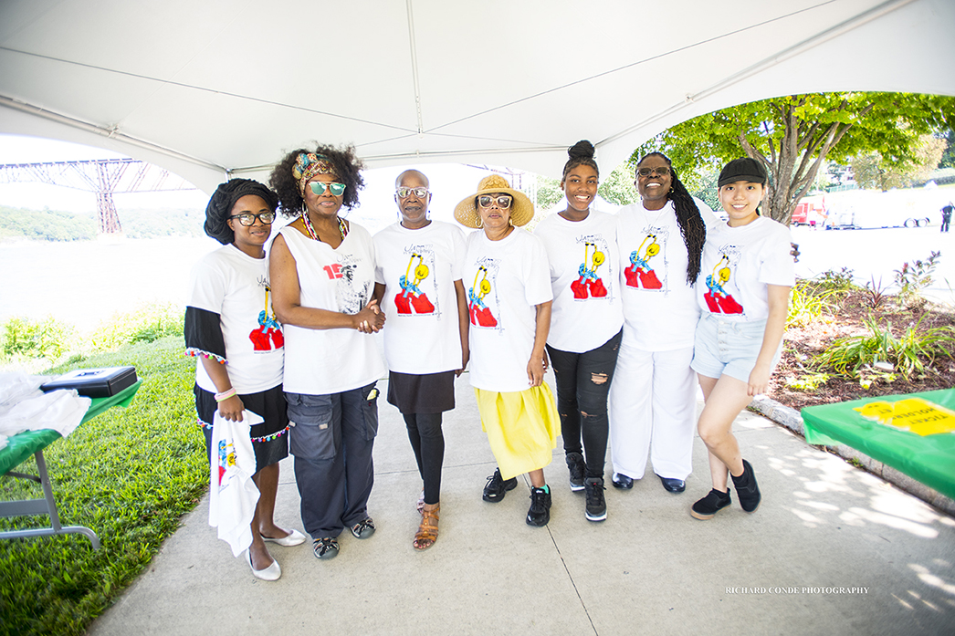 Jazz in the Valley founder Greer Smith with festival volunteers  at the 2017 Jazz in the Valley Jazz Festival