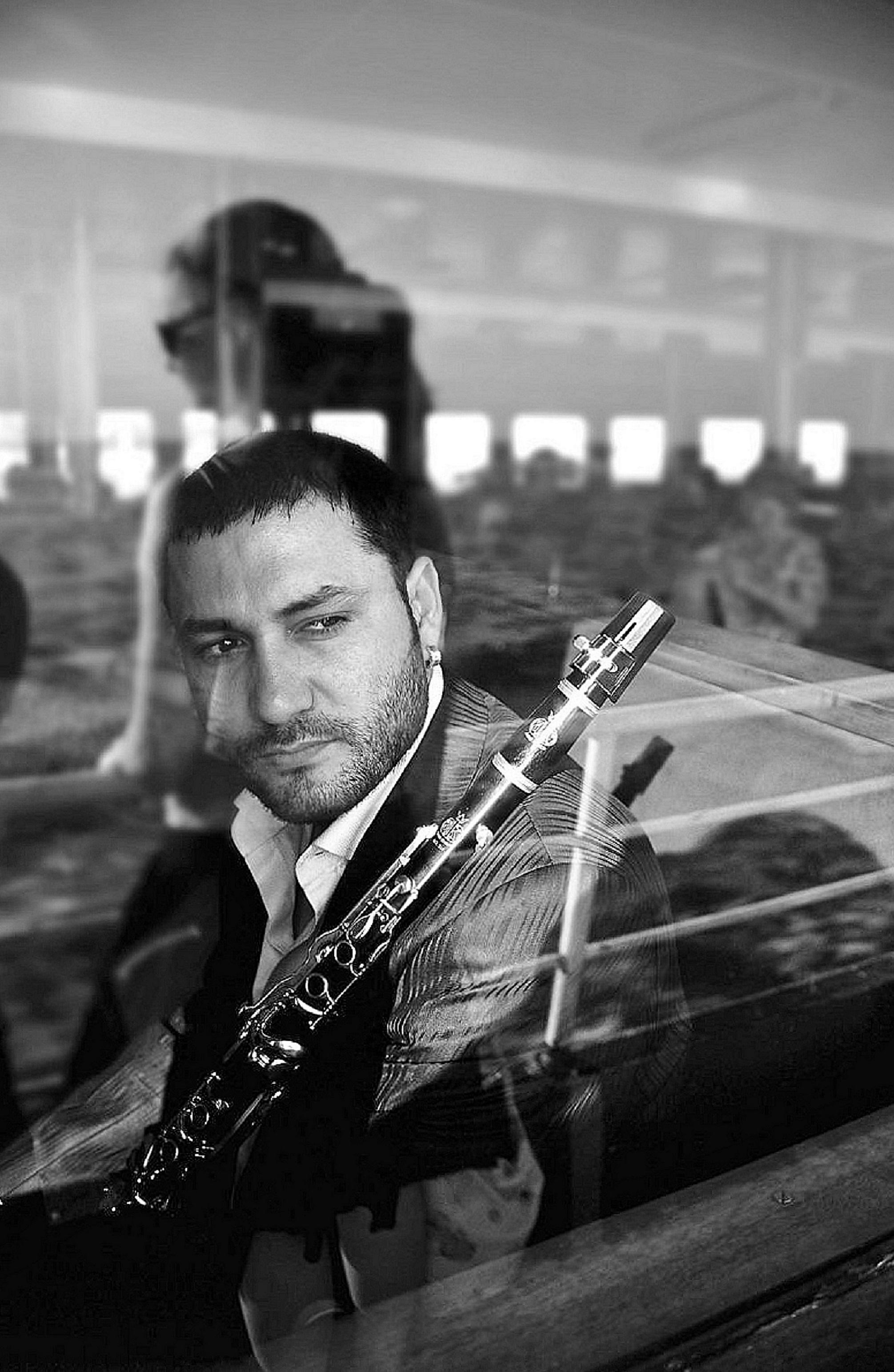 Hüsnü Şenlendirici, with Clarinet, on Istanbul Ferry
