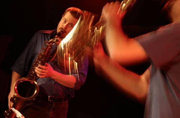 "Ken Vandermark and Dave Rempis with ""Vandermark 5"" at the Sud Des Alpes, Amr, Geneva, Switzerland, 2005"
