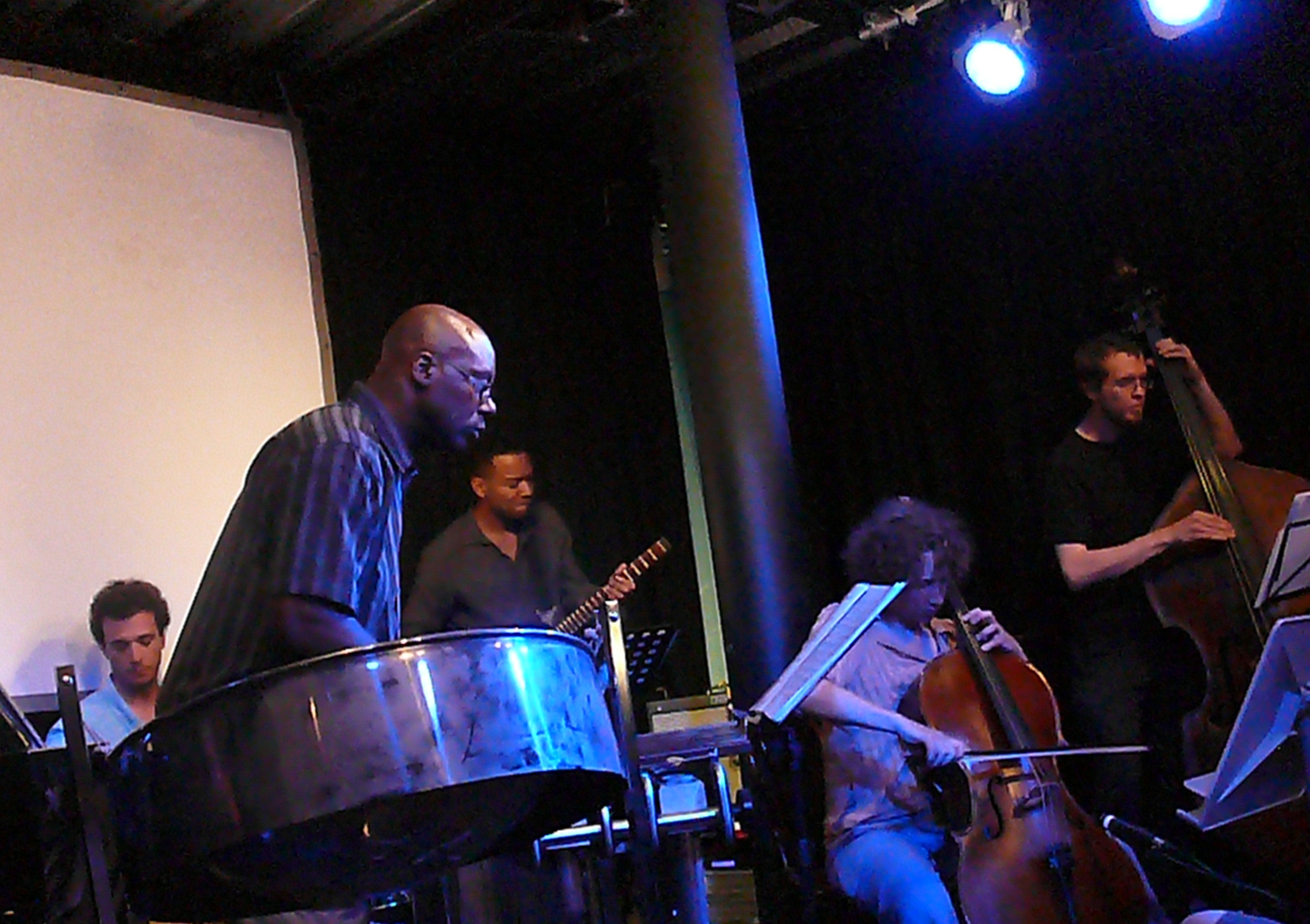 Javier Carmona, Orphy Robinson, Otto Fischer, Hannah Marshall, Dominic Lash at the Vortex, London in July 2010