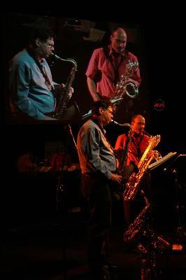 "Bruce Ackley and Jon Raskin with ""Rova Saxophone Quartet"" at Maison de la Radio, RSR, Espace 2, Lausanne, Switzerland, 2004"