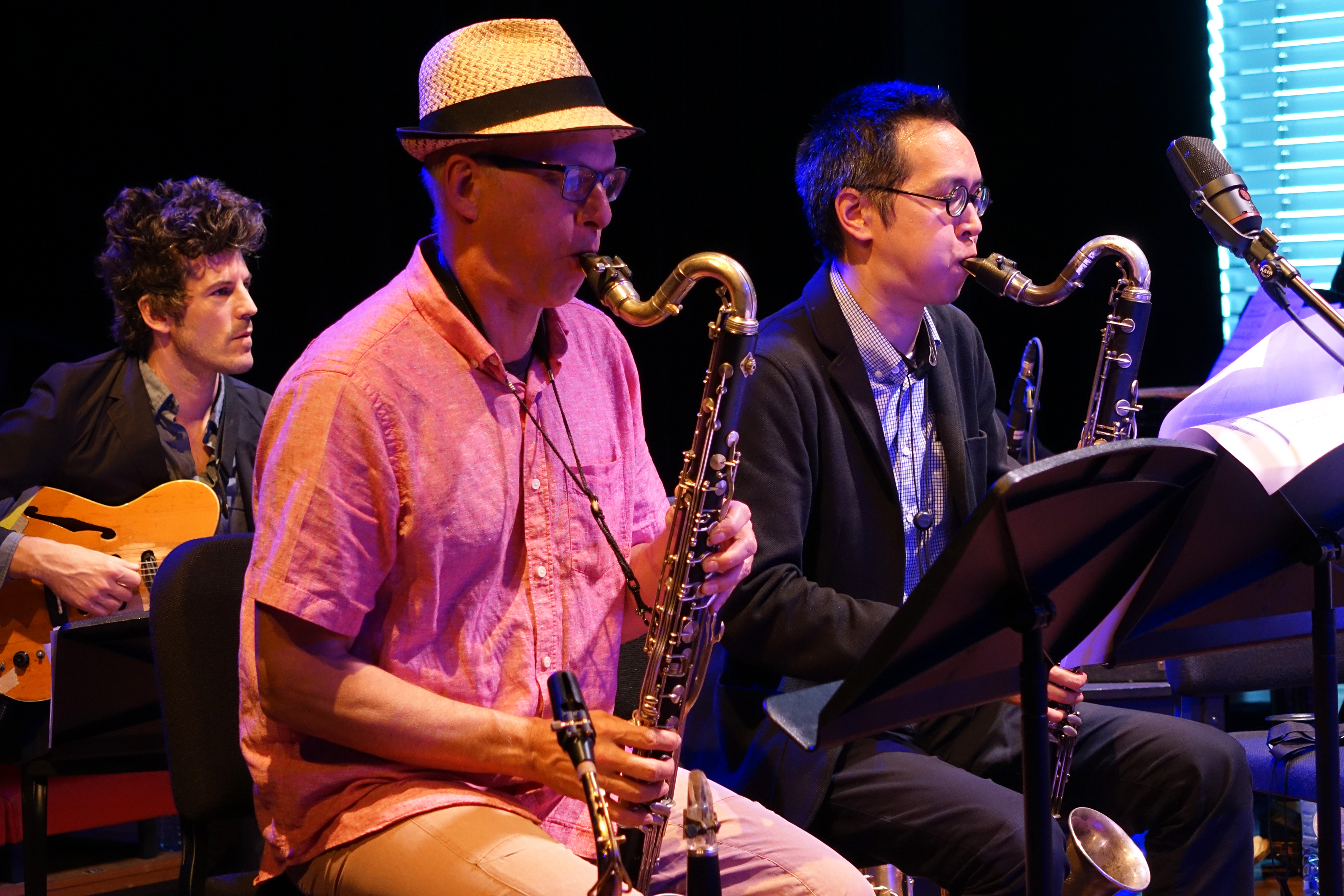 Brandon Seabrook, Michael Moore, and James Fei at Doek Festival 2015