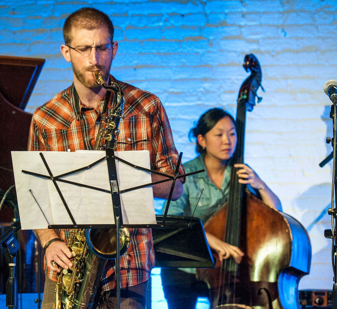 Matt Marantz and Linda Oh with Evan Weiss at Inner Circle Music Festival at Shapeshifter Lab