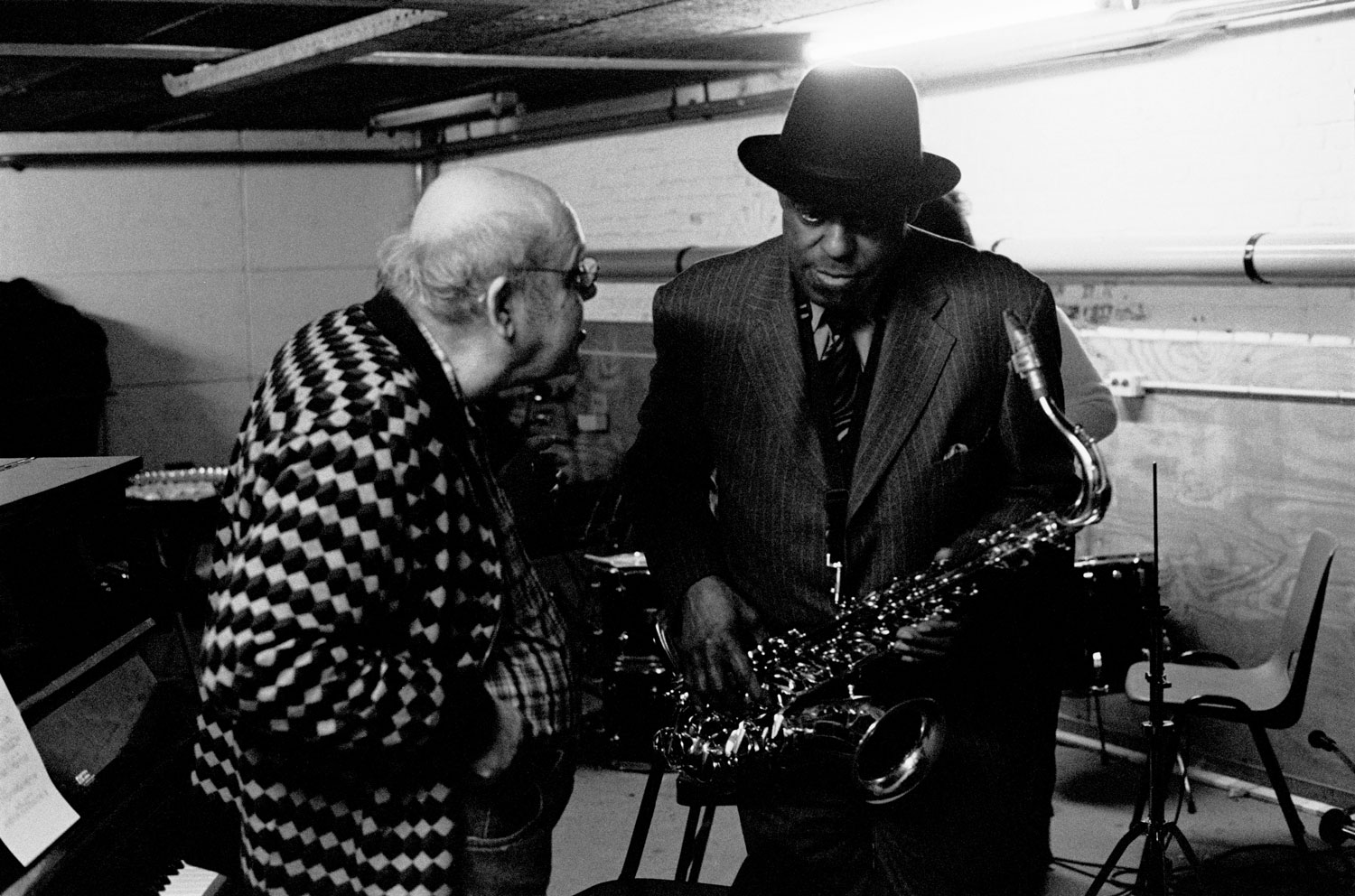 Misha Mengelberg and Archie Shepp, Backstage at the Oude Schans Bimhuis, on 30 November 2009