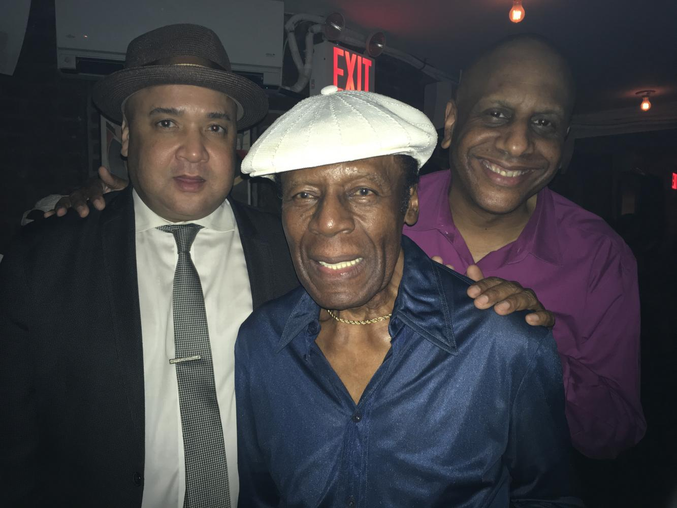 """Joe France (""""Mr Saturday Night"""") with Peter Washington and Billy Drummond at Mezzrow"""