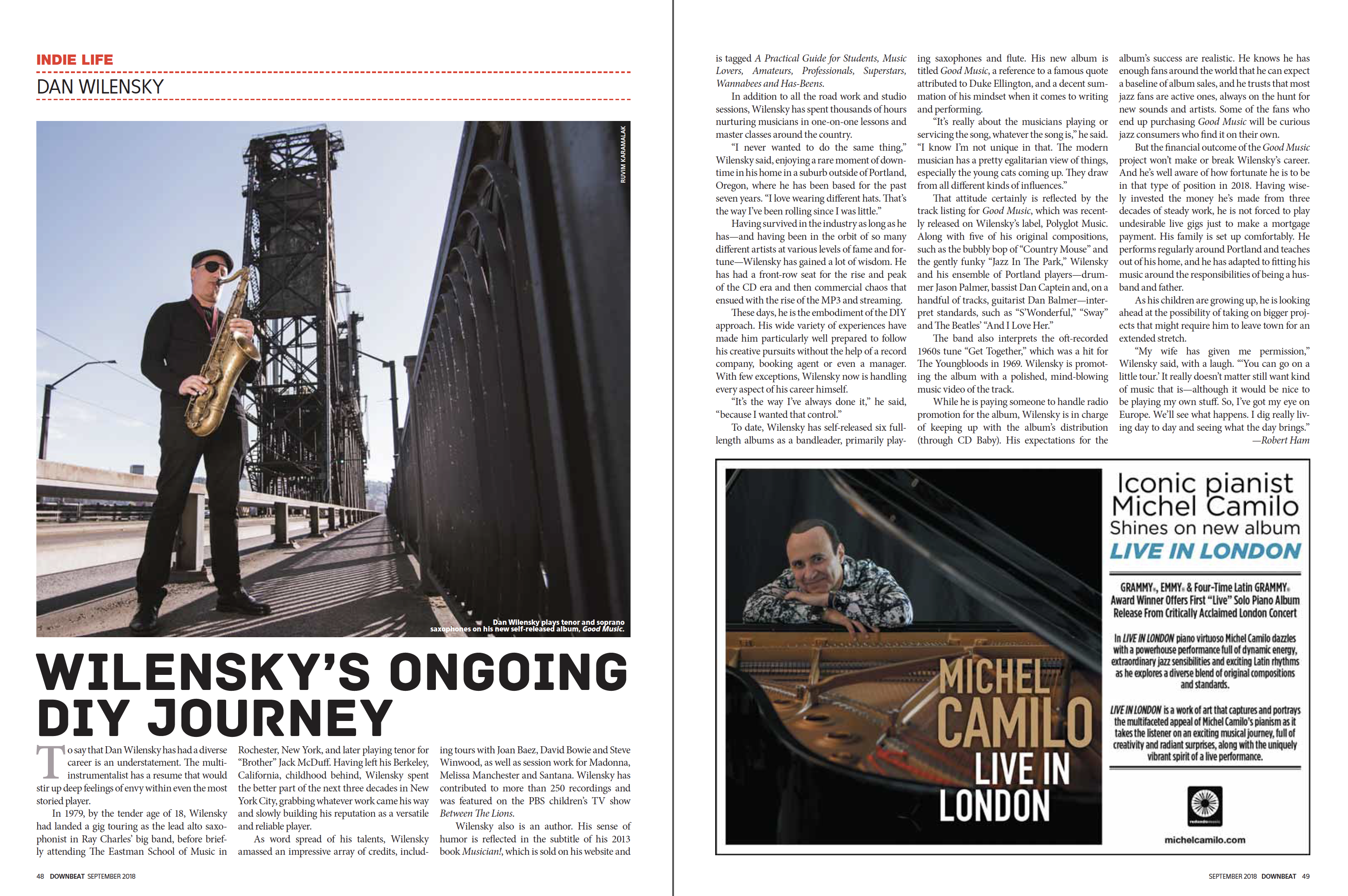 Feature in Downbeat (September, 2018)
