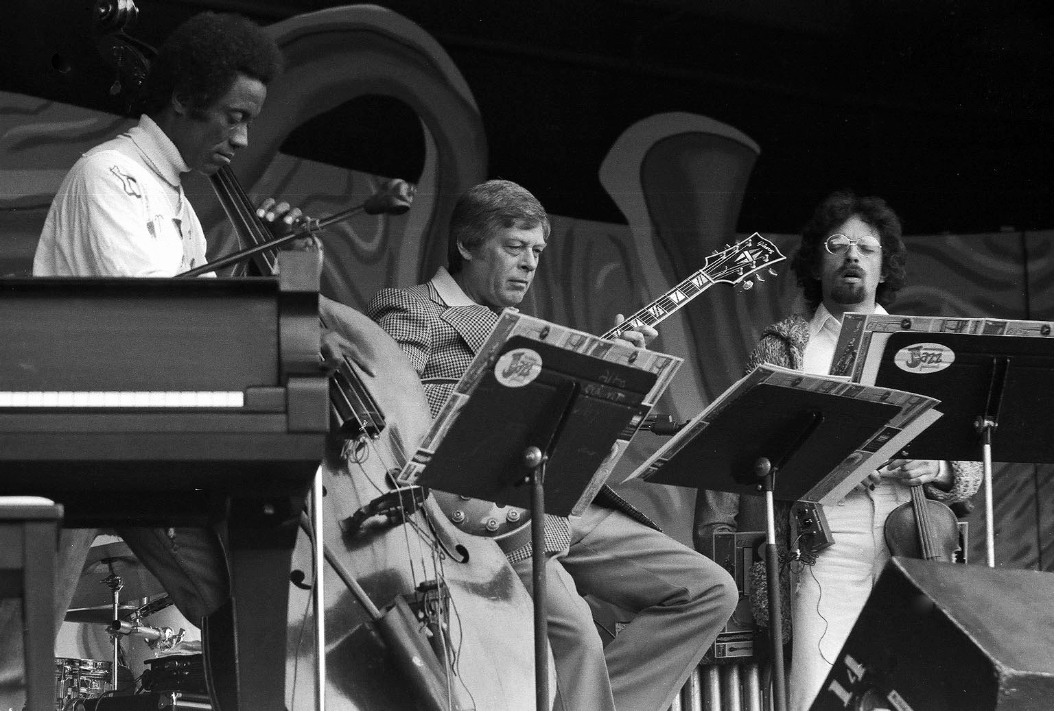 Richard Davis, Mundell Lowe, Zbignew Seifert at the Monterey Jazz Festival. Mid 70's