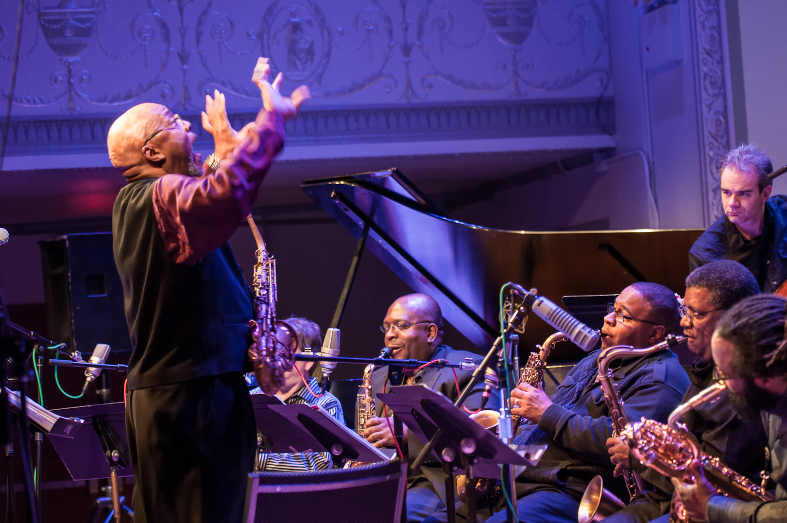 Oliver Lake Conducting Darius Jones, Bruce Williams, James Steward, Jason Marshall and Robert Sabin (on Bass) with the Oliver Lake Big Band at Roulette