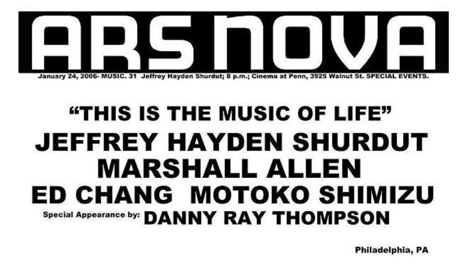 Jeffrey Hayden Shurdut at ARS NOVA