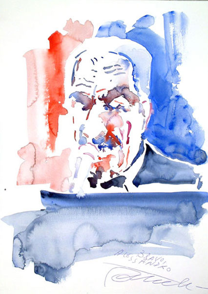Paolo Conte 36x50cm - Watercolor on Paper 300 GR/MQ - Live at the Concert in Milan Apr 2004 Teatro Nazionale