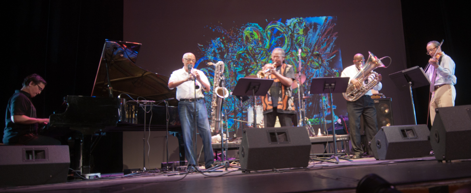"D.D. Jackson, Hamiet Bluiett, Ahmed Abdullah, Bob Stewart and Charles Burnham with ""The Group"": A Tribute to Marion Brown & Billy Bang at the Vision Festival 2011"