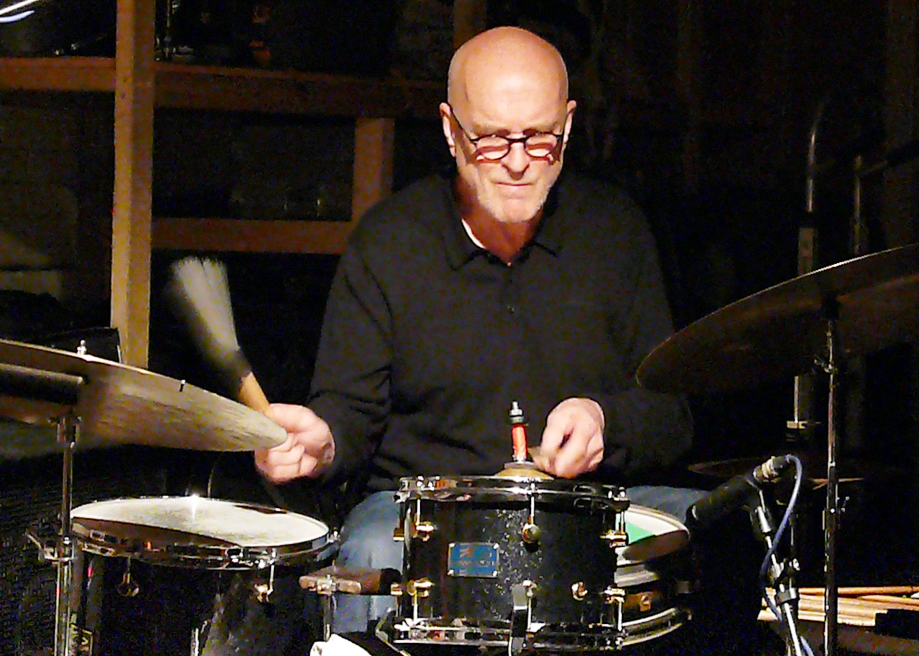 Roger Turner at Cafe Oto, London in July 2017