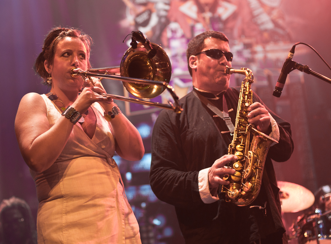 Sarah Morrow and Randy Villars with Bootsy Collins' Funk U-Nity Band at the Montreal International Jazz Festival 2011