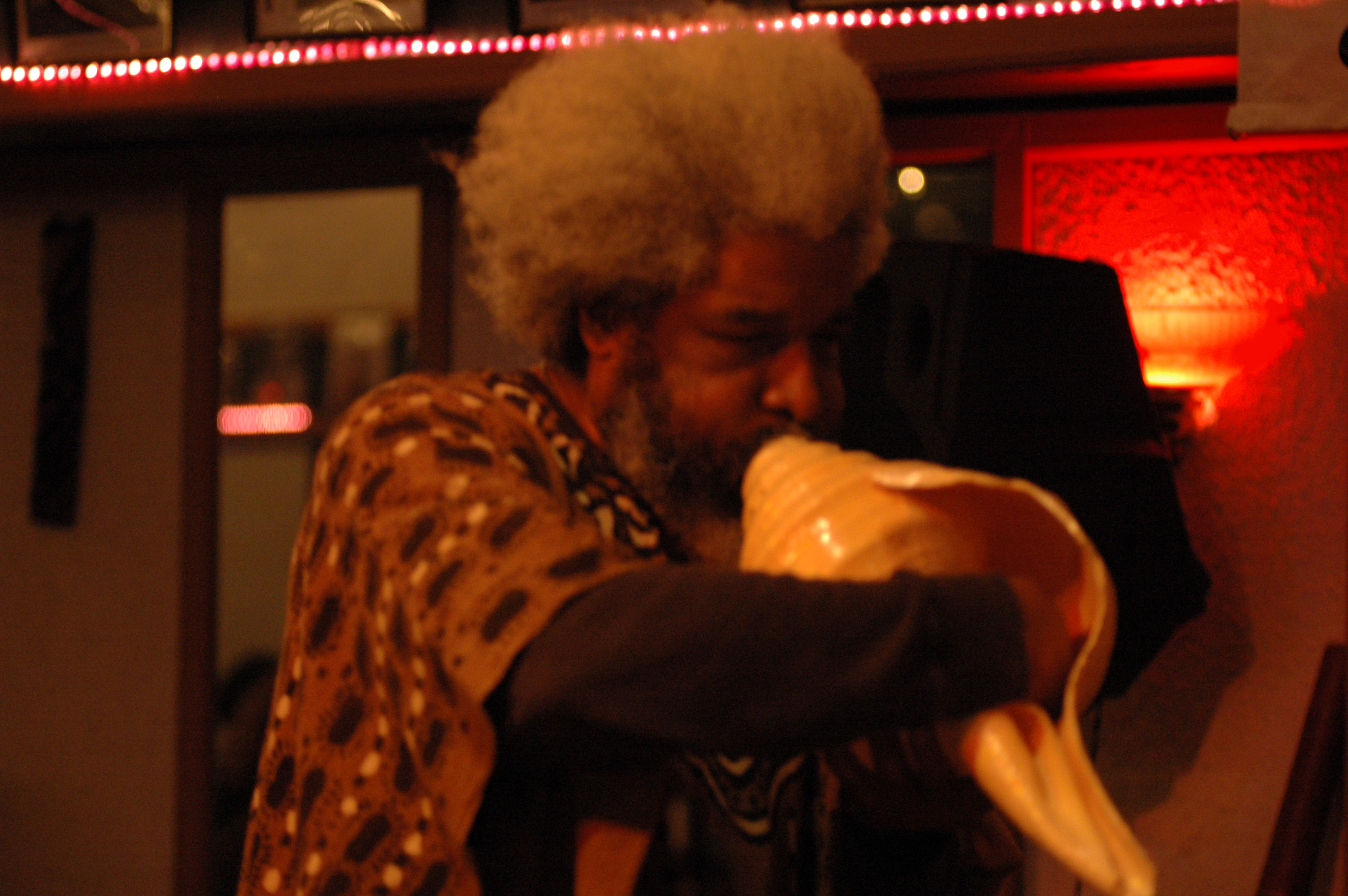 Harold E. Smith Playing the Conch Shell at Jazzbridge Event