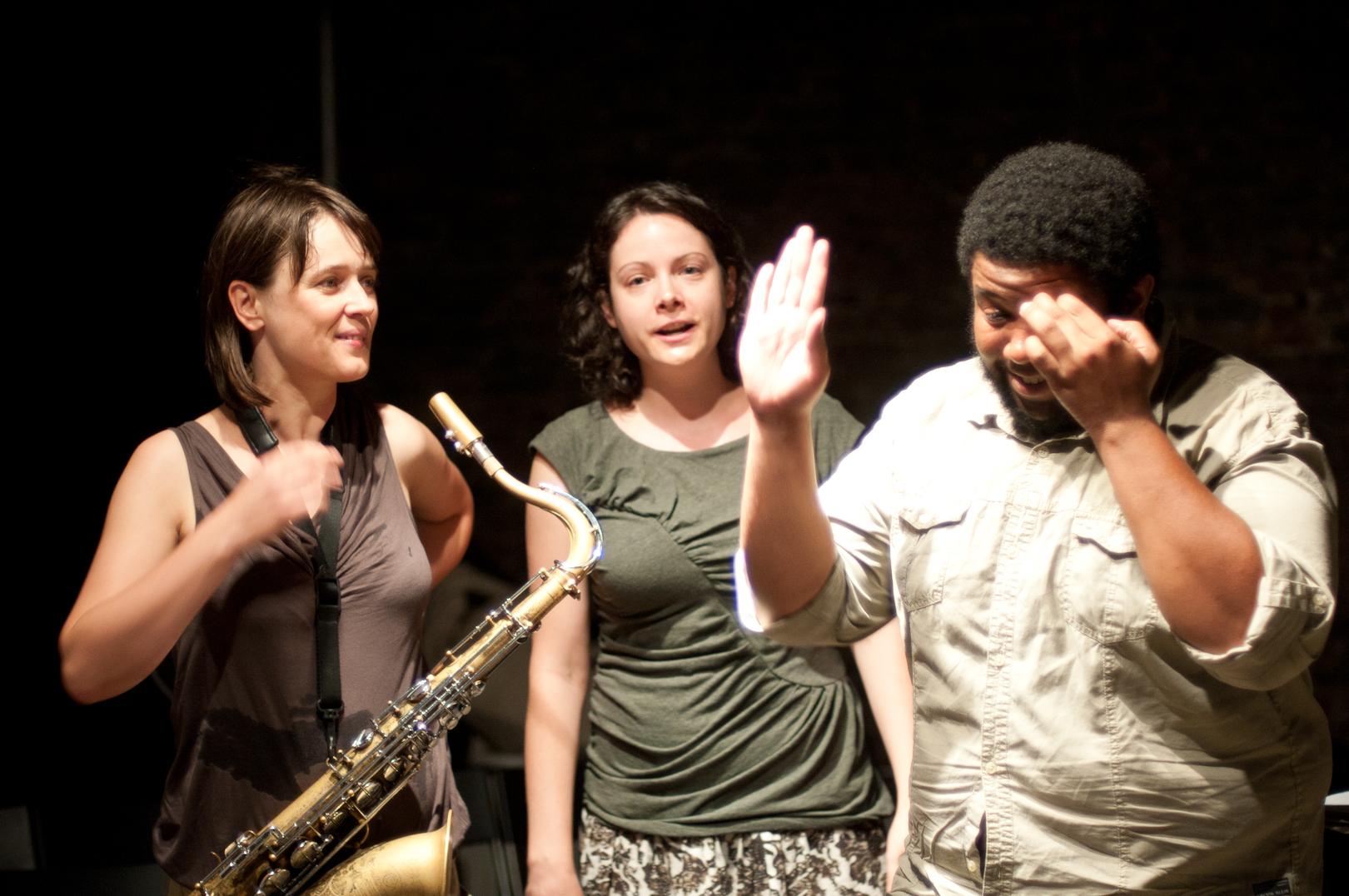 Ingrid Laubrock, Kris Davis and Tyshawn Sorey at the Stone