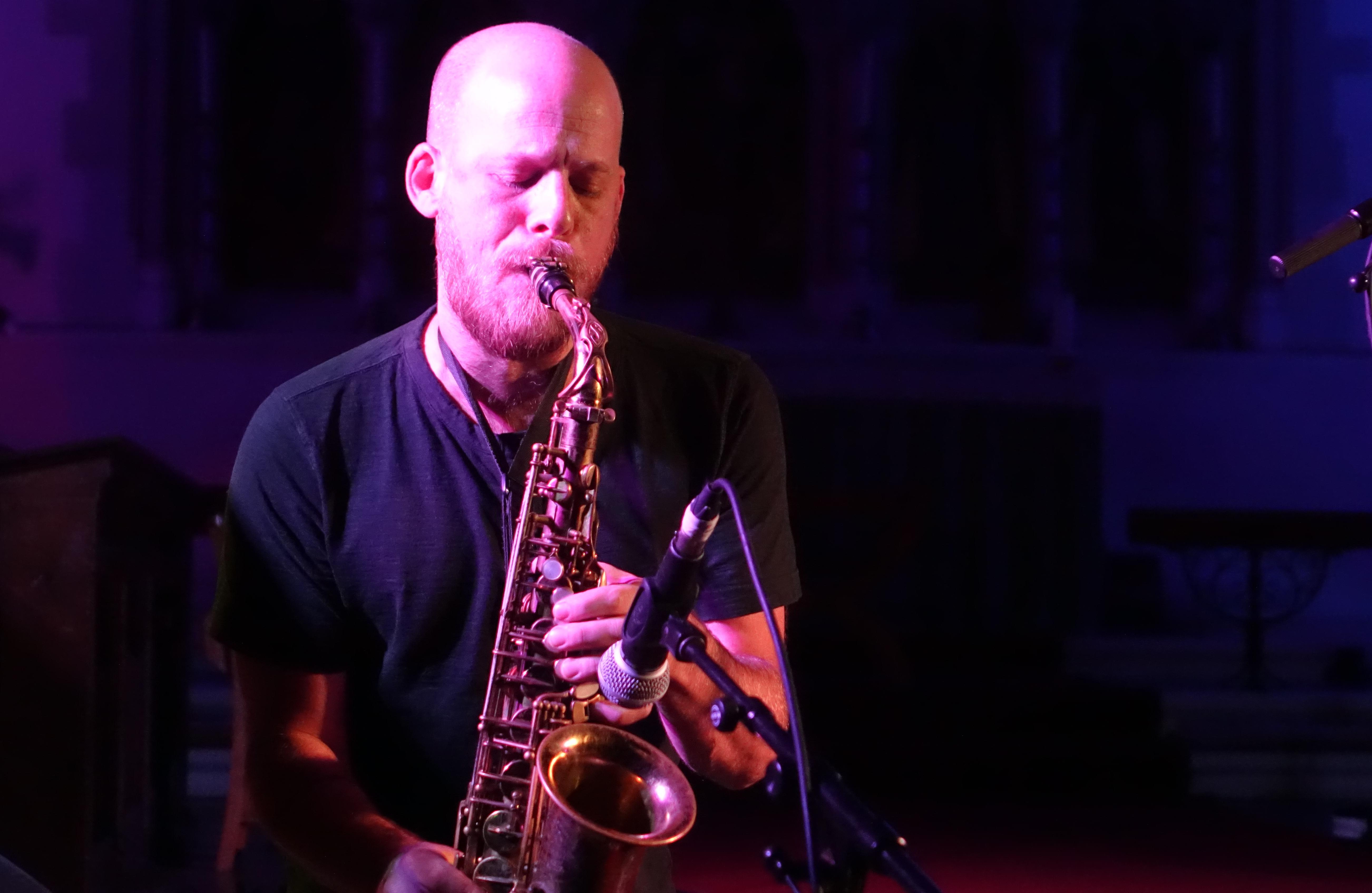 Keir Neuringer at Brighton Alternative Jazz Festival in October 2018