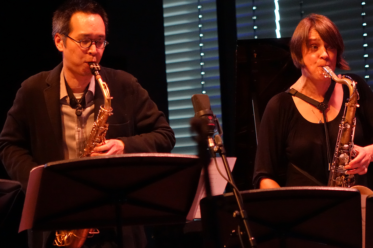 James Fei and Ingrid Laubrock at Doek Festival 2015