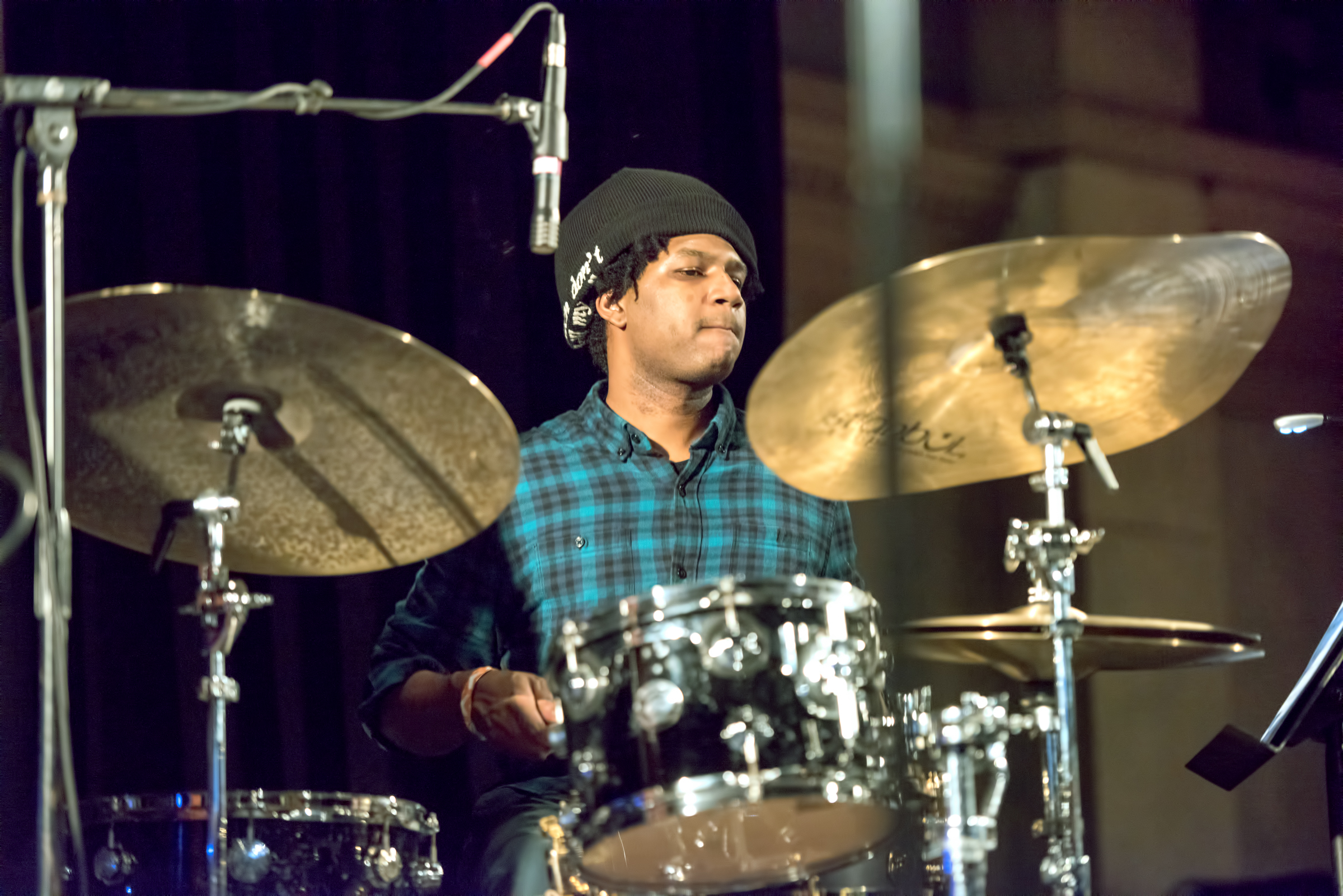 Justin Brown with the Ambrose Akinmusire Quartet at the Nyc Winter Jazzfest 2015