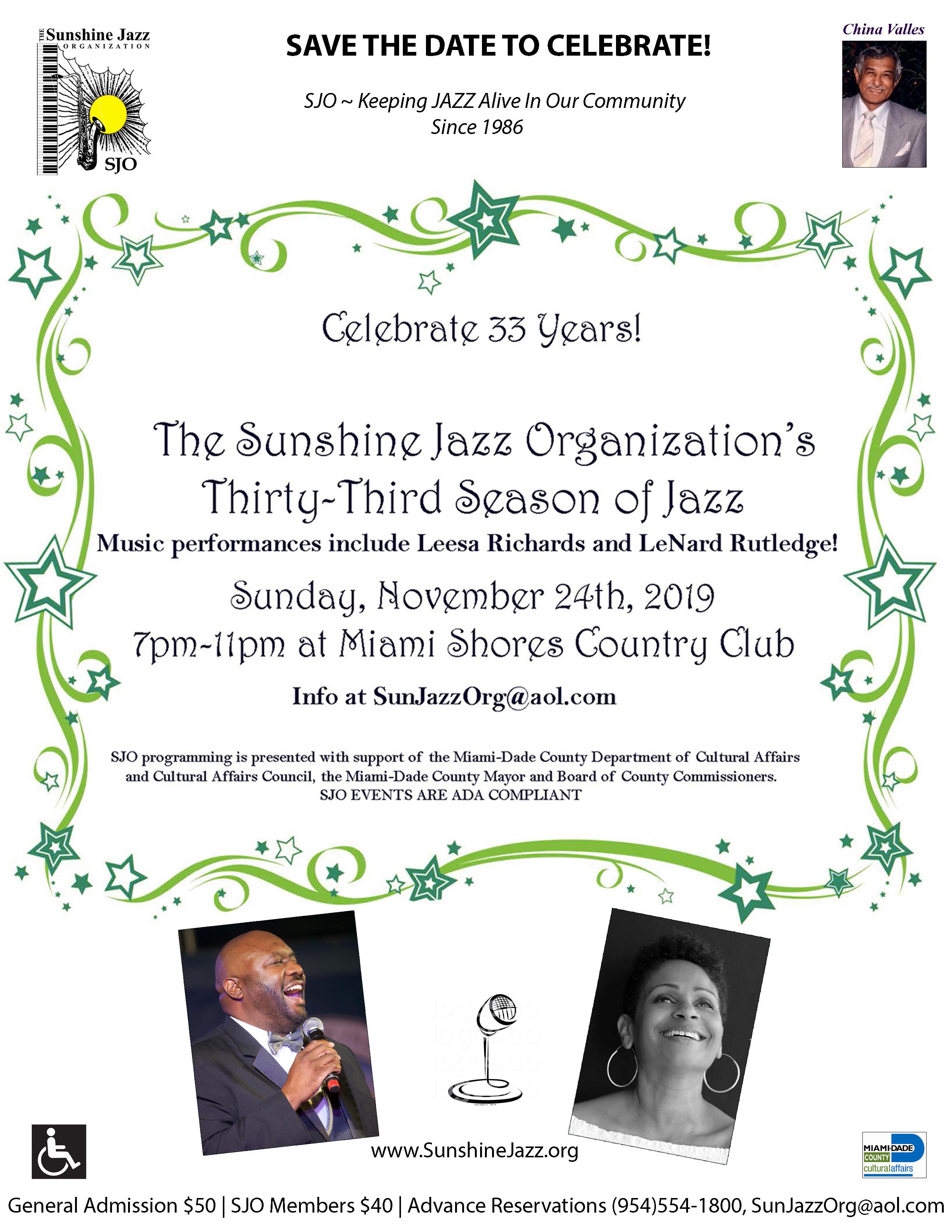 Sunshine Jazz Organization Celebrates 33rd Season!