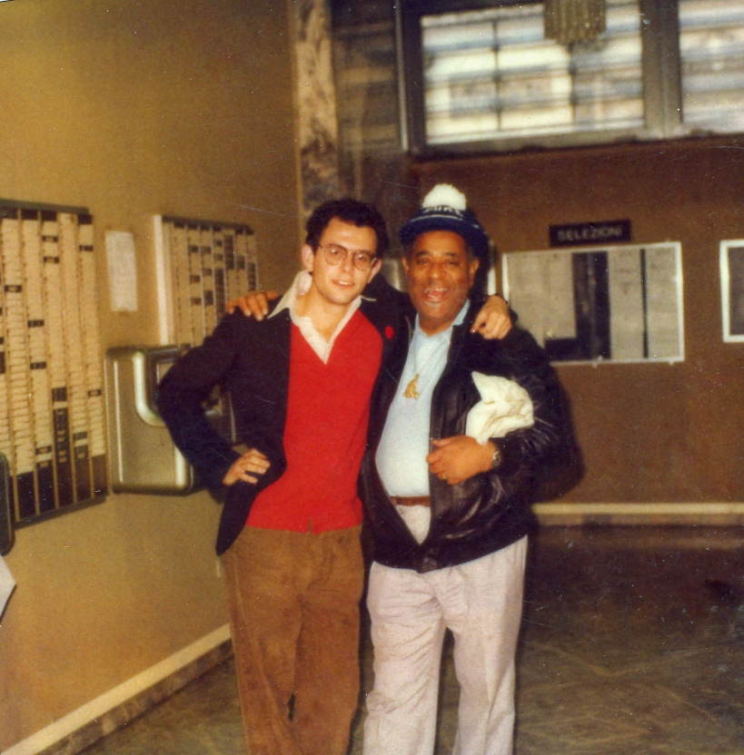 Francesco Crosara with Dizzy Gillespie, Turin, 1981