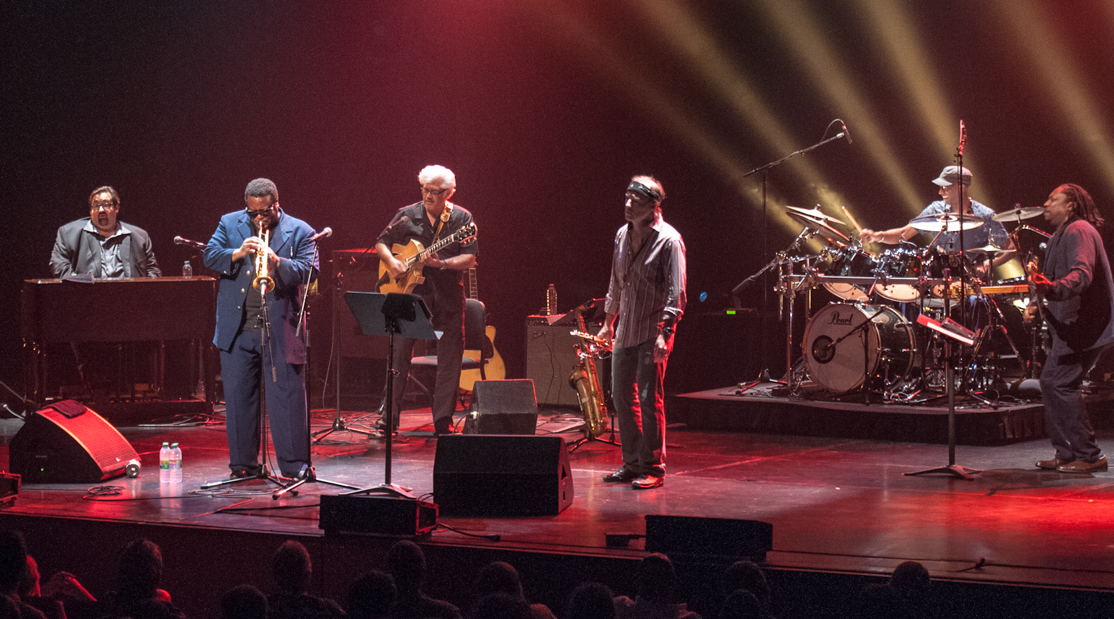 Joey Defrancesco, Wallace Roney, Larry Coryell, Bill Evans, Omar Hakim and Darryl Jones with Miles Smiles at the Montreal International Jazz Festival 2012
