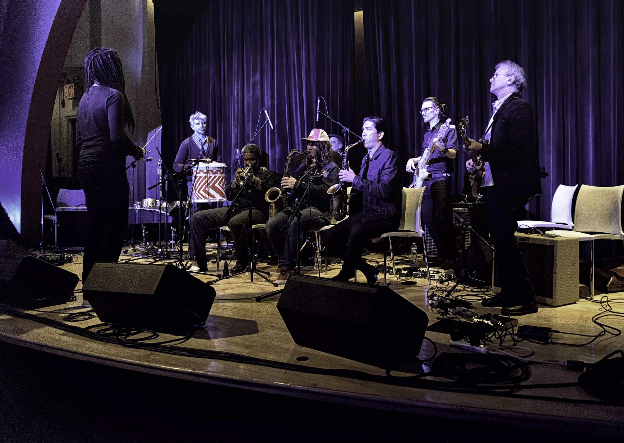 Brandon Ross, Mauro Refosco, Graham Haynes, Kenny Wollesen, Ilhan Ersahin, Jonathon Haffner, Michael Kiaer and Doug Wieselman With Nublu Orchestra At The NYC Winter Jazzfest 2016