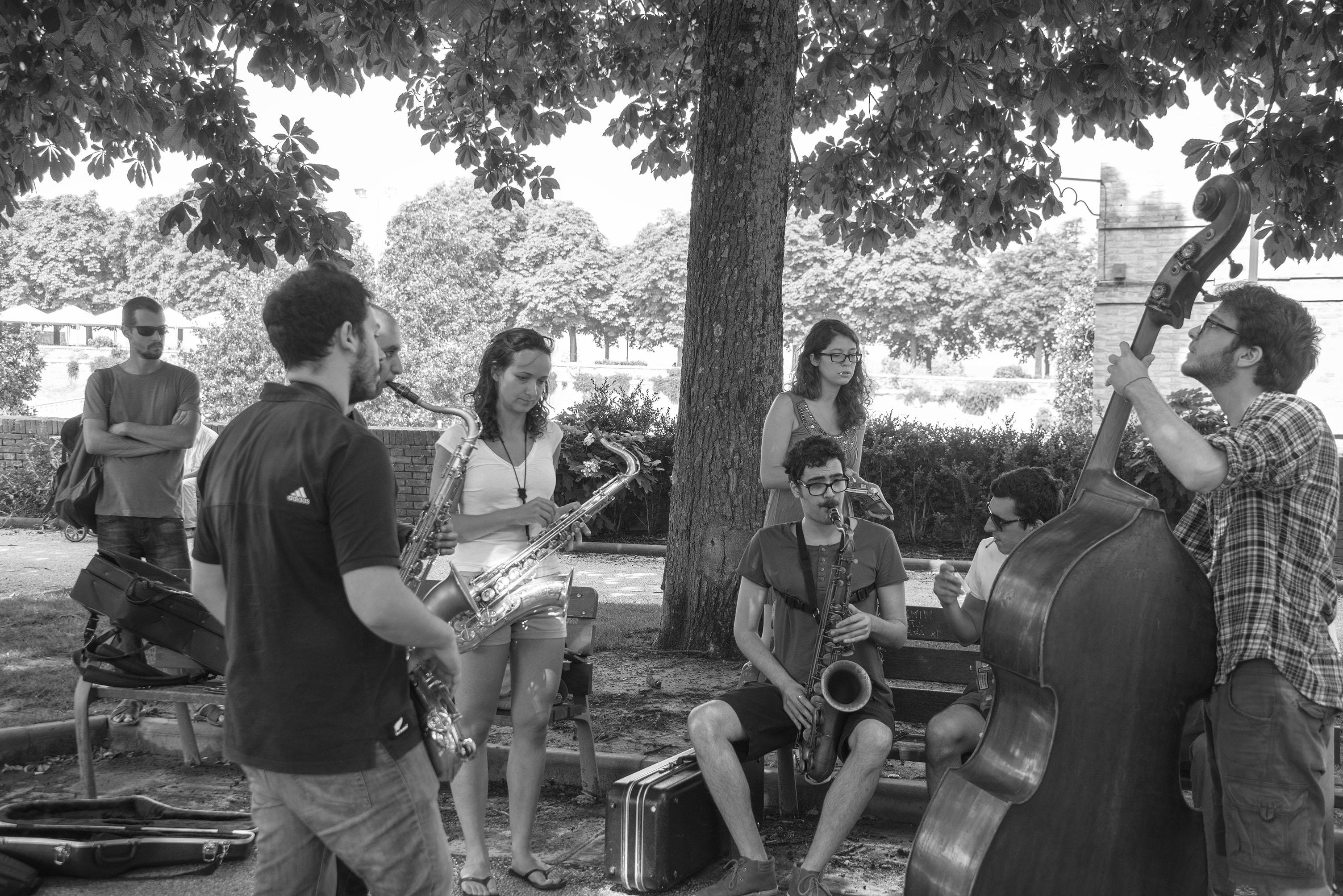 Students rehearsing, 2013 siena jazz academy summer workshop