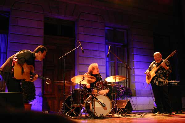 "Sylvain Luc, Andre Ceccarelli and Jean-Marc Jaffet with ""Trio Sud"" at the Cour de L'Hotel de Ville de , Jazz Estival, Geneva, SW"