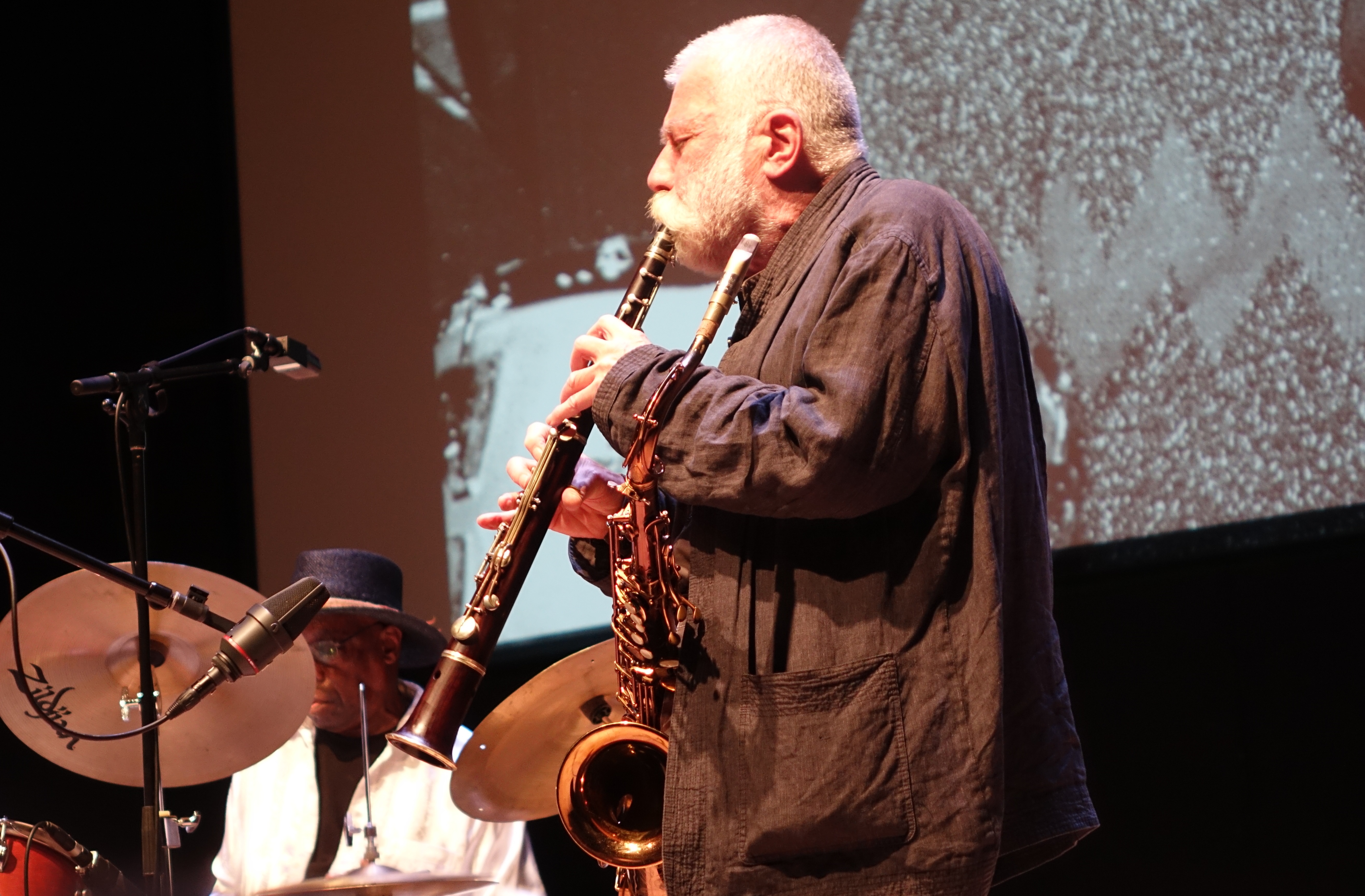 Andrew Cyrille and Peter Brotzmann at the Vision Festival in Roulette, Brooklyn in June 2019