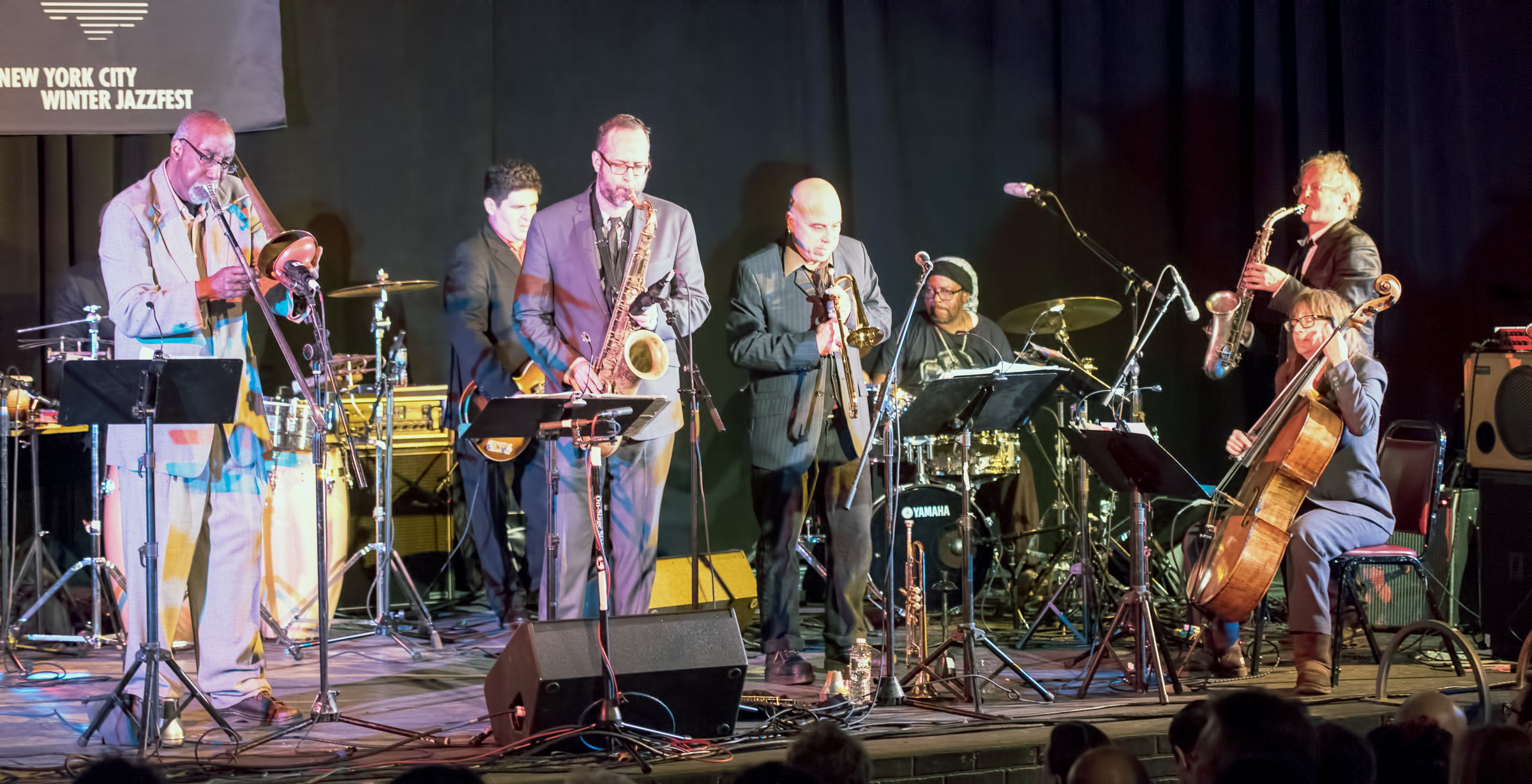 Curtis Fowlkes, Tony Scherr, Michael Blake, Steven Bernstein, g. Calvin Weston and Doug Wieselman with Strange and Beautiful: the Music of John Lurie and the Lounge Lizards at the Nyc Winter Jazzfest 2015