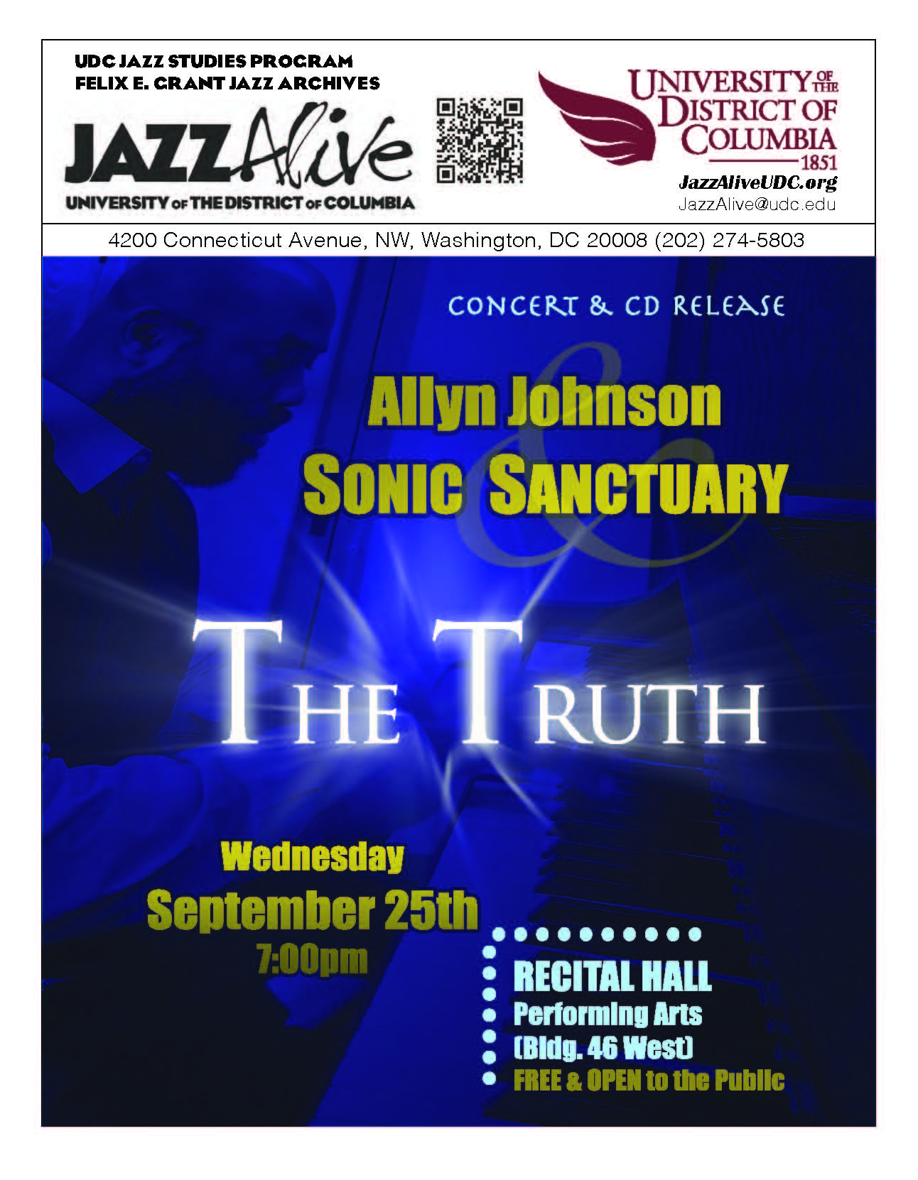 Jazz concert & cd release: allyn johnson & sonic sanctuary—