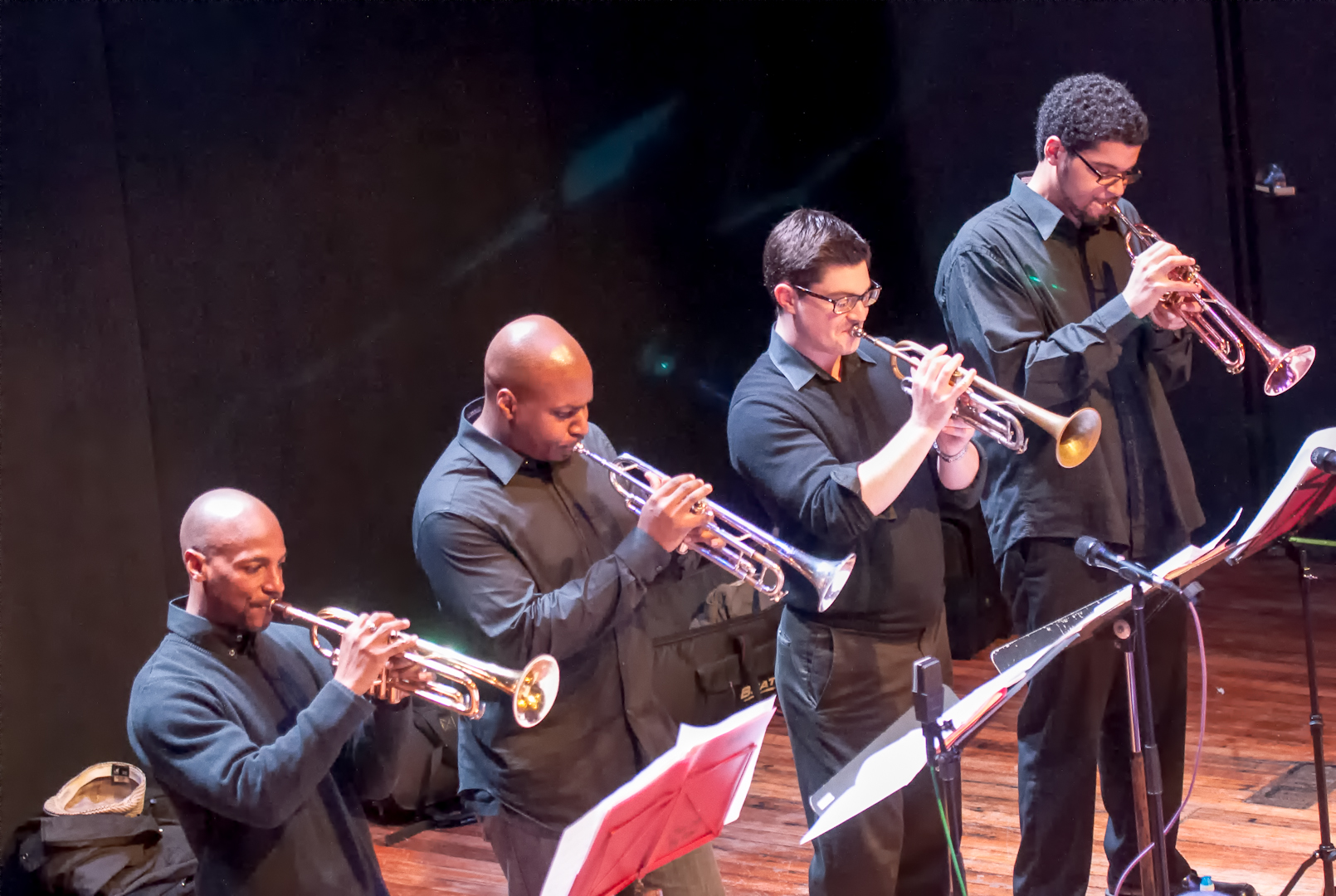 Duane Eubanks, Brian Kilpatrick, Tatum Greenblatt and Josh Evans with the Oliver Lake Big Band at Roulette