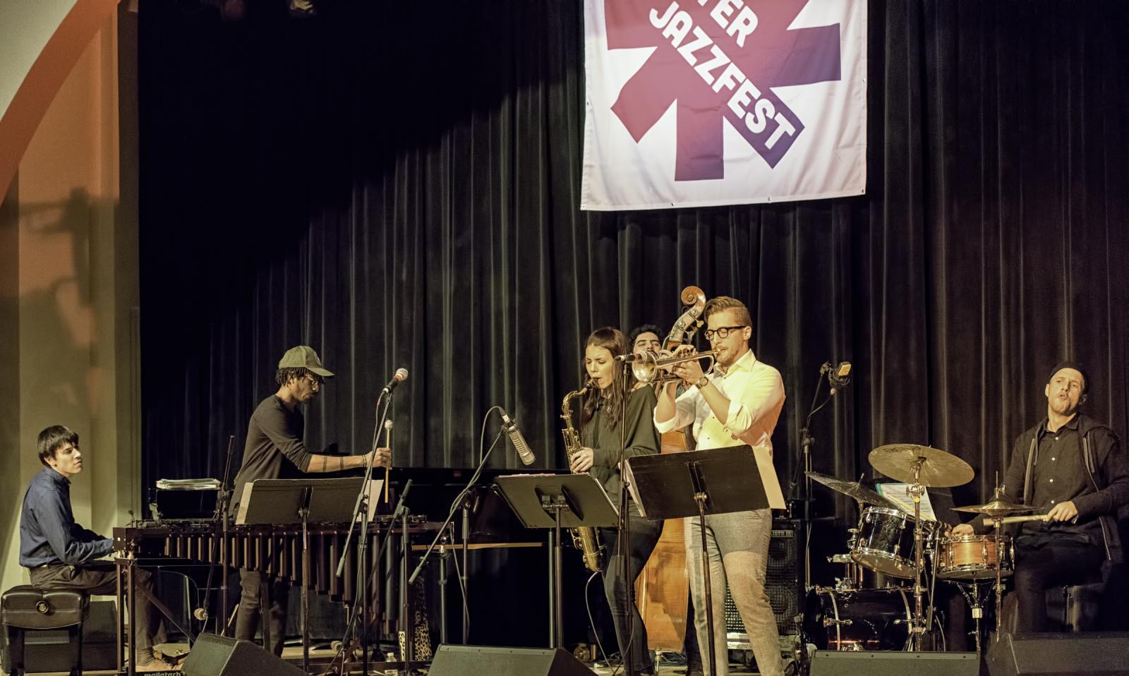 Glenn Zaleski, Joel Ross, Pablo Menares, Melissa Aldana, Philip Dizack and Craig Weinrib at The NYC Winter Jazzfest 2017