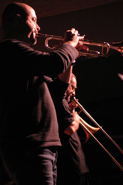 "Flavio Boltro and Glenn Ferris with ""Mirabassi-Boltro Ferris"" at Cully Jazz Festival, Switzerland, 2005"