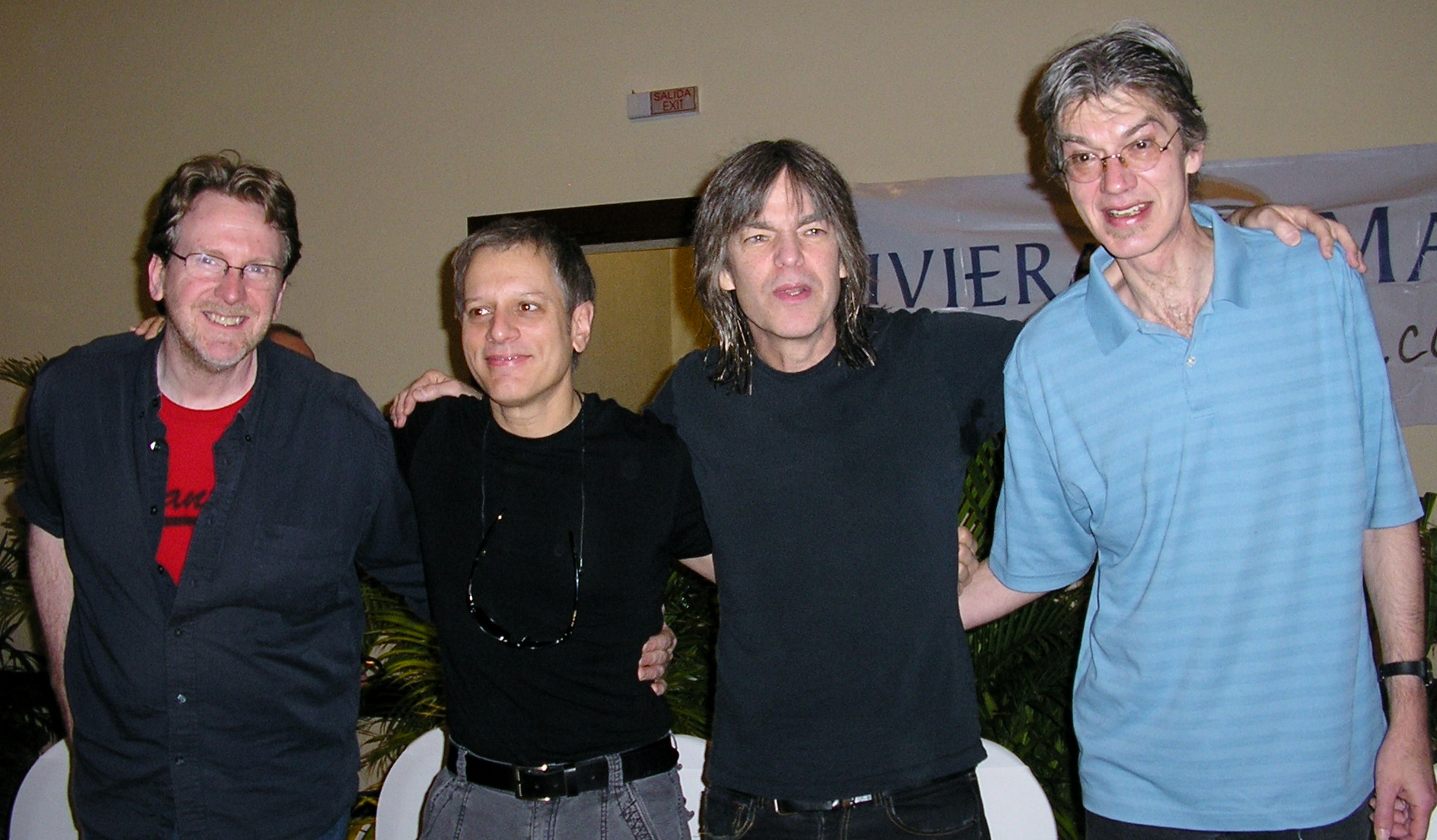 Brothers in Arms Tom Kennedy, Dave Weckl, Mike Stern and Bob Malach , Before Taking the Riviera Maya Jazz Festival Thursday Stage.