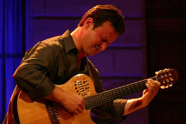 """Sylvain Luc with """"Trio Sud"""" at the Cour de L'Hotel de Ville de , Jazz Estival, Geneva, Switzerland, 2004"""
