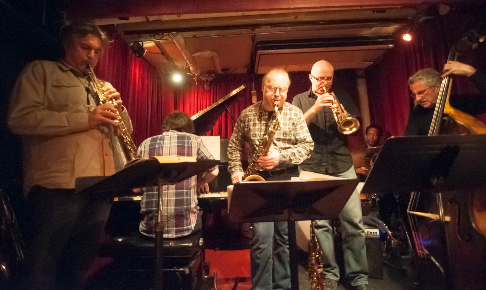 Tony Malaby, Craig Hartley, Phillipe Crettien, Gerald Cleaver and Mario Pavone with the Mario Pavone Mythos Sextet at Cornelia Cafe