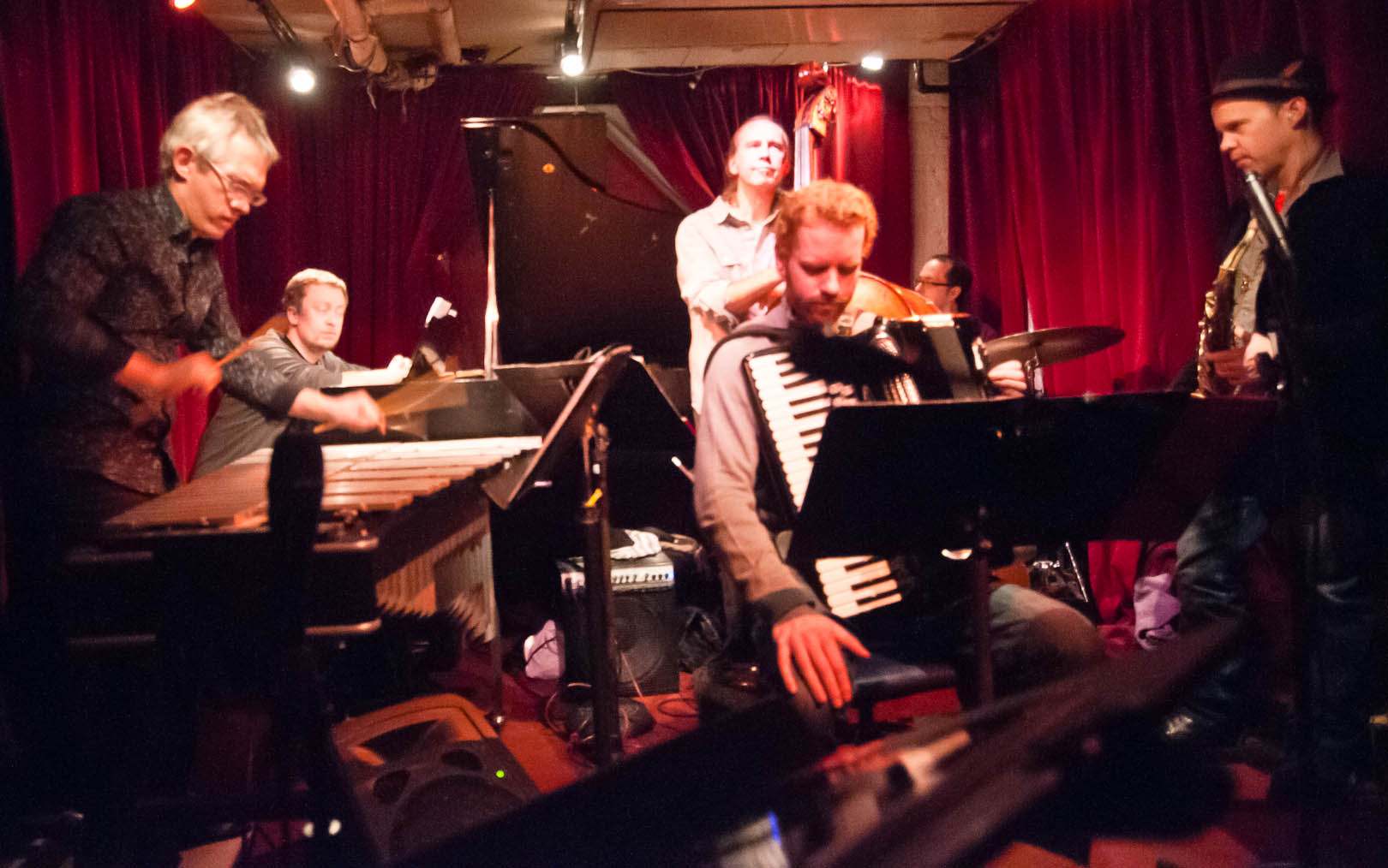 Matt Moran, Matt Mitchell, Red Wieringa, Drew Gress and Chris Speed with the Claudia Quintet at the Cornelia Street Cafe