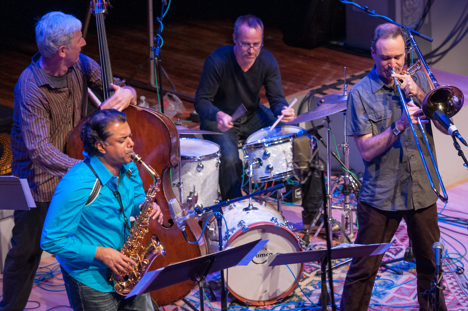 Rudresh Mahanthappa, Mark Dresser, Michael Sarin, and Michael Dessen with the Mark Dresser Quintet at the Vision Festival 2012