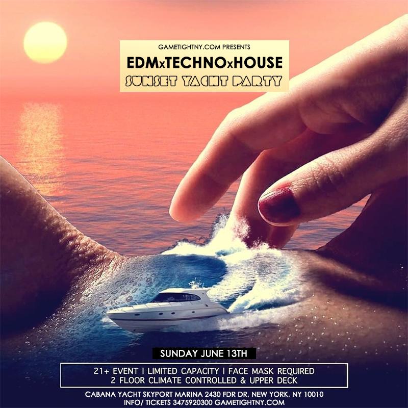 Edm Sunday Sunset Yacht Party Cruise At Skyport Marina Cabana Yacht 2021