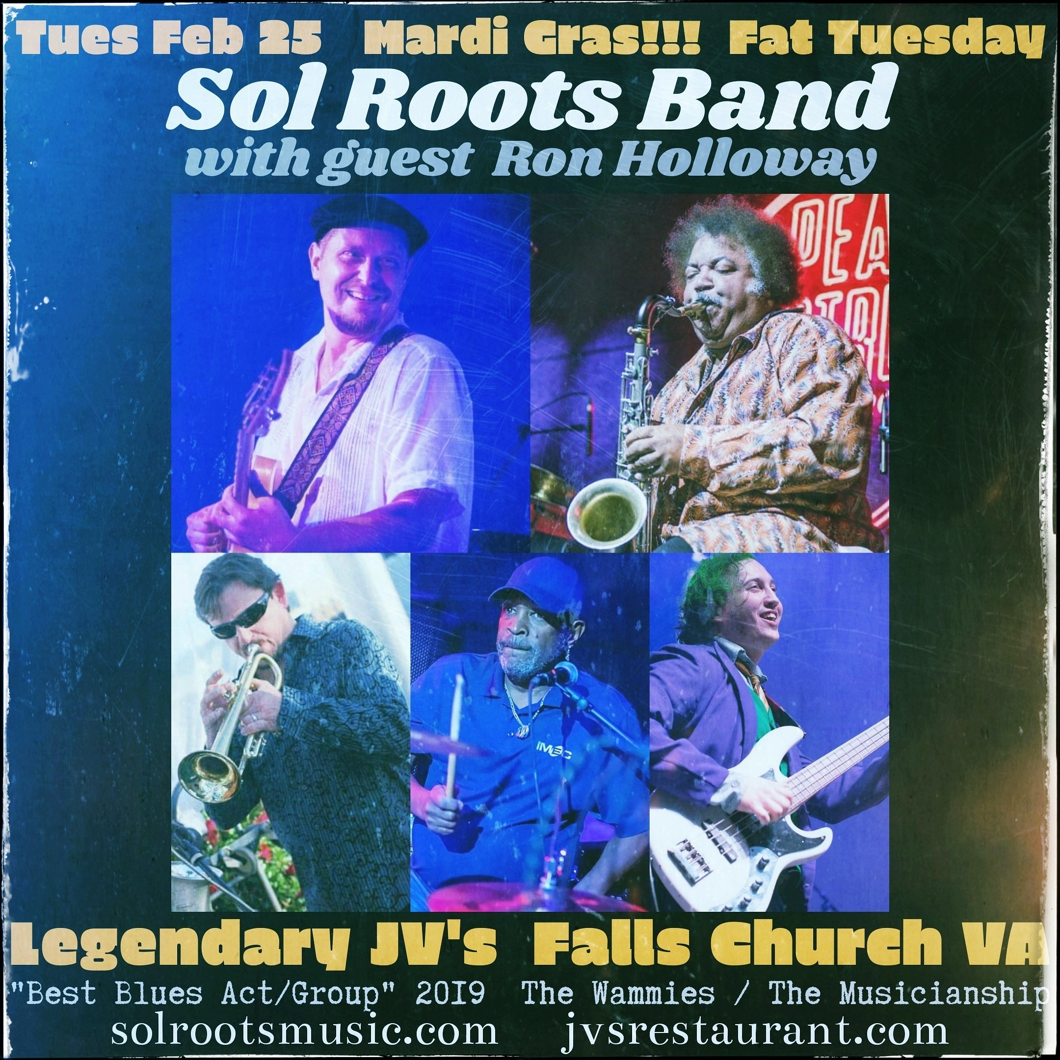 Sol Roots Band With Guest Ron Holloway. Mardi Gras Party!