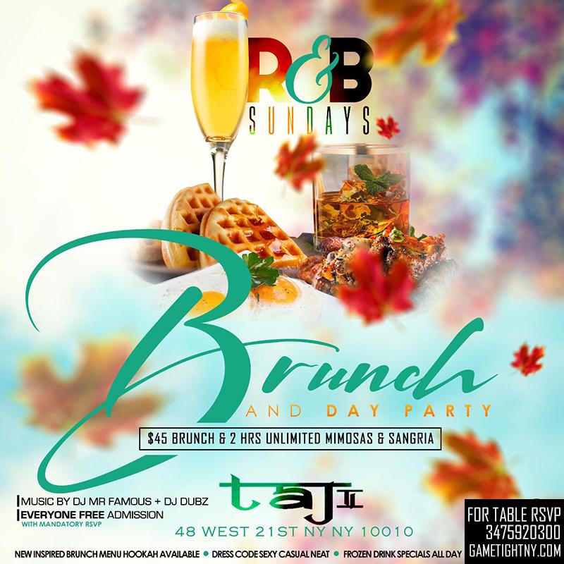 Taj Lounge Nyc Sunday Funday Hip Hop Vs. Reggae® Brunch & Day Party