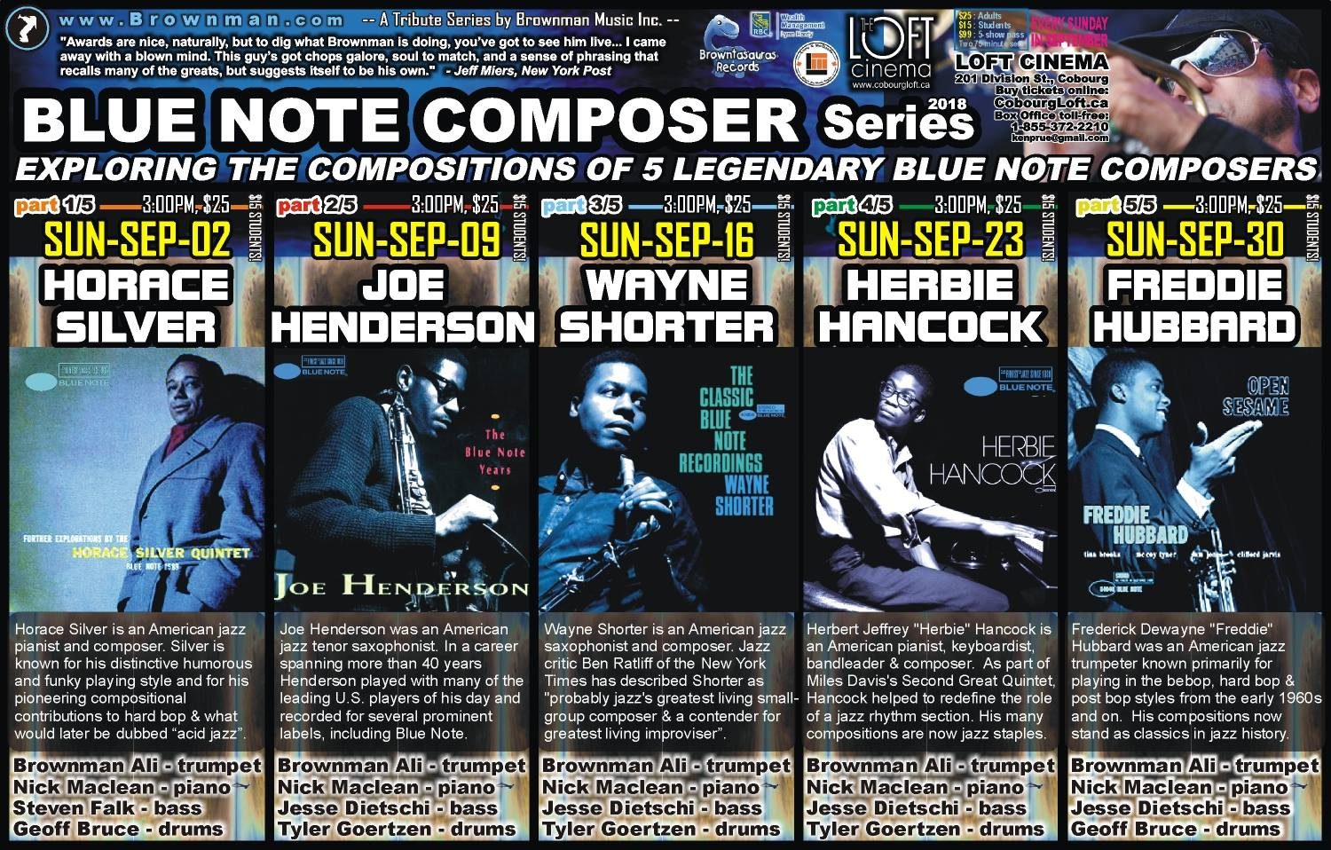 Blue Note Composer Series: Every Sun In Sep, Cobourg, 3-6pm, $25
